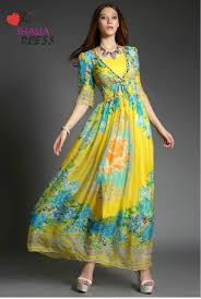 sh 025 yellow arabic dubai robe half sleeve modest floral beach