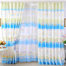Curtains Printed Designs Bright Blue And White Polyester Kids Curtains Printed With Rabbit