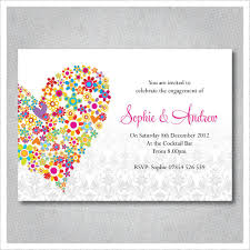 Betrothal Invitation Cards Love Heart Flowers Engagement Invitations