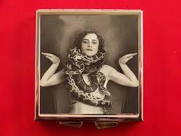 pill box circus sideshow pinup with snake vintage