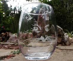 engraved stemless cat wine glasses unique glass set barware