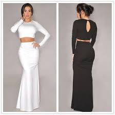 bodycon maxi dresses for womens round neckline crop tops