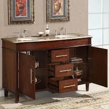 b1507 55 double sink vanity travertine top cabinet