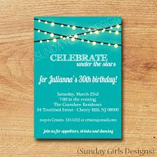 birthday party invitation digital custom card under the stars