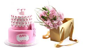 best online flower delivery combo of 2 tier cake with pink flower best gifts for baby