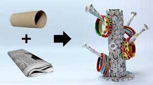how to make bangle stand with newspaper best out of waste ideas