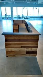 Plywood Reception Desk Hand Made Contemporary Reclaimed Wood And Steel Reception Desk By