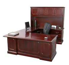 Computer Corner Desk by Furniture Cherry Finished Wooden Work Station Decor With Lighted