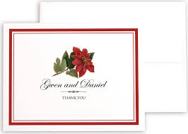poinsettia winter christmas and holiday thank you notes