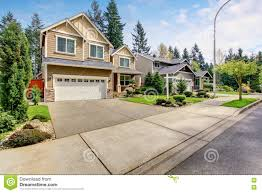 nice curb appeal of american two story house with perfect