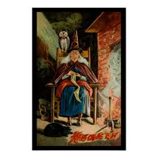witch at fireplace poster zazzle