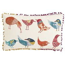 Pier One Peacock Pillow by Boho Birds With Poms Lumbar Pillow Pier 1 Imports
