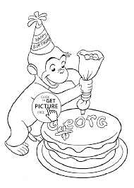 happy birthday curious george coloring pages for kids printable free