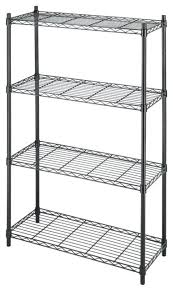 4 shelf black plastic ventilated storage shelving unit plano 4