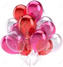 balloons party birthday pink red colorless translucent decoration