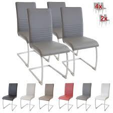 Esszimmerst Le Leder Grau 4er Stuhlset Freischwinger Hampton Grau Strukturstoff Stuehle