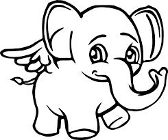 angel elephant cartoon coloring page wecoloringpage