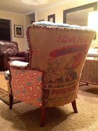 Upholstery Burlap Vintage Grainsack Upholstered Chair Artisticallyvintage Via Etsy