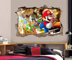 super mario bros scene smashed wall decal removable sticker super mario bros scene smashed wall decal removable sticker luigi ebay