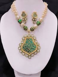 trendy necklace sets images Trendy green thewa with white pearl kundan necklace set jpg