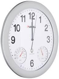 ivation clock amazon com lorell analog temperature humidity wall clock 12 inch