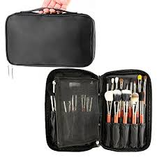 amazon travelmall professional cosmetic case makeup brush organizer makeup artist case with belt strap holder multi functional cosmetic bag makeup