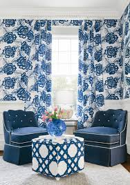 navy blue and white ottoman fair and square ottoman in cyrus cane printed fabric in navy and