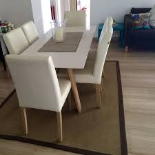 stunning quartz stone top dining table 6 leather chairs