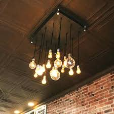 industrial cluster hanging pendant light exposed bulb style lights