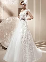 One Shoulder Wedding Dress Tulle A Line Beaded Lace One Shoulder Wedding Dress With Feather A