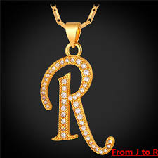 letter necklace jewelry images Collare j r alphabet letter pendant necklace unisex gold silver jpg