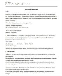 Manager Resume Examples Sample Assistant Manager Resume 8 Examples In Word Pdf