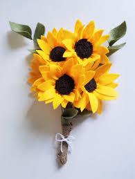 Sunflower Bouquets Sunflower Bouquet Felt Flower Bouquet Wedding Bouquet