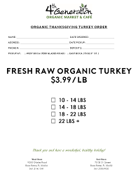 2017 organic thanksgiving catering menu 4th generation organic