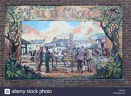 royal jubilee mural on brick wall of cattle market abergavenny wales uk painted in may 2016