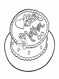 cake for mom mother u0027s day coloring page for kids coloring pages
