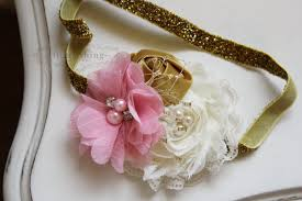 gold headbands pink gold and ivory headband baby headband newborn headband