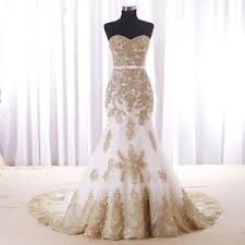 gold wedding dress white mermaid gold lace wedding gowns with custom bridal