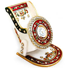 marble with meenakari mobile stand with clock boontoon