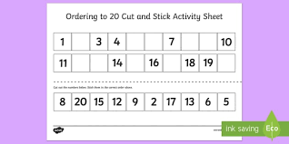 ordering to 20 cut and stick activity sheet ordering 20 cut