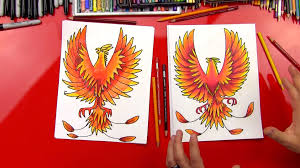 how to draw a phoenix art for kids hub