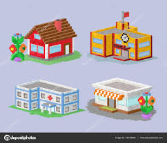 cute colorful flat style house village pixel art real estate