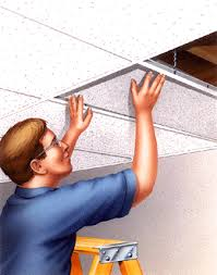 How To Put Up Tin Ceiling Tiles by How To Install Suspended Ceiling Tiles Easily