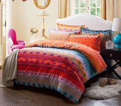 geometric pattern bedding free shipping cotton bed linens sanding 4pcs orange blue geometric