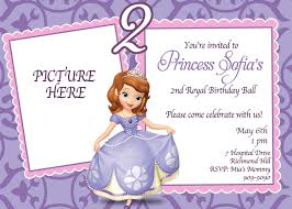 2nd Birthday Invitation Card Custom Photo Invitations Sofia The First Birthday Invitation
