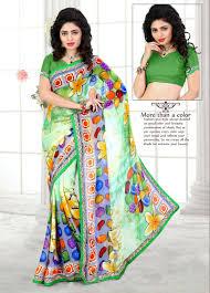 colorful designer colorful designer printed georgette saree khushi wear