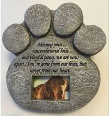pet memorial garden stones paw print pet memorial features a photo frame and sympathy