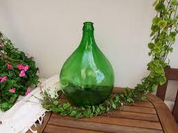 italian 10 liter large green glass wine bottle demijohn