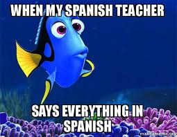 Spanish Teacher Memes - when my spanish teacher says everything in spanish dory from nemo