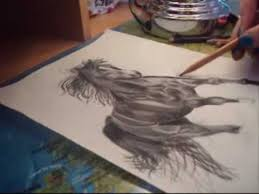 speed charcoal drawing of a running horse youtube